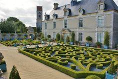 Clipped boxwood parterre Chateau de Brecy