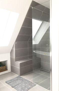 Shower - finally finished- Dusche – endlich fertig Nice shower under the pitch. Glass partition ensures great and modern design in the bathroom. Loft Bathroom, Upstairs Bathrooms, Bathroom Layout, Bathroom Interior Design, Small Bathroom, Bad Inspiration, Bathroom Inspiration, Glass Partition Wall, Sala Grande