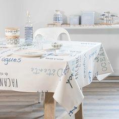 Nappe enduite en coton imprimé blanc et bleu 140x250cm ESCALE