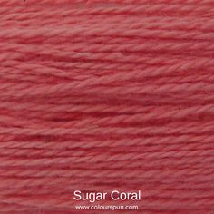 A ColourSpun Pure Cotton yarn and embroidery thread colour swatch. This colour is called Sugar Coral Colour Swatches, Super Chunky Yarn, Fabric Yarn, Embroidery Thread, Fabric Design, Salmon, Coral, Sugar, Cotton