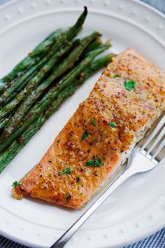 One pan recipe for honey mustard salmon with green beans. This recipe is quick and easy to pull together with few ingredients and requires just 1 sheet pan!