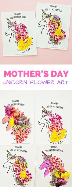 Mother's Day Unicorn Flower Art. Printable template to make this lovely Mother's Day art or card from kids. Blank version available for you to add your own name. #mothersday #mothersdaygift #mothersdaycraft #kidsart #kidscrafts