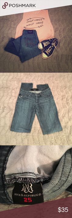 Rock & Republic Distressed, Skinny Jeans Cute R&R jeans! In good condition, missing one stud from back pocket detail, not really noticeable. No wear on cuffs. Rock & Republic Jeans Skinny