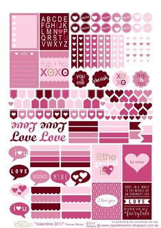 Free Printable Valentine Planner Stickers from Papier Kreation