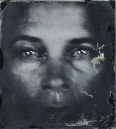 Detail of Untitled (Self-Portraits) by Sally Mann. Ambrotype (unique collodion wet-plate positive on black glass) with sandarac varnish. 2006-7 Virginia Museum of Fine Arts
