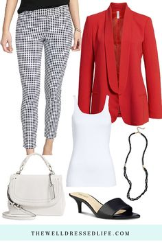 Wear to Work: Red, White and Gingham Business Casual Outfits, Professional Outfits, Patterned Pants Outfit, Red And White Outfits, Pants Pattern, Cute Outfits, Denim Outfits, Cardigan Outfits, Work Outfits