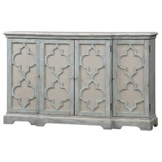 Uttermost Sophie 4 Door Grey Cabinet ($1,491) ❤ liked on Polyvore featuring home, furniture, storage & shelves, cabinets, gray cabinets, 4 door storage cabinet, grey cabinets, grey furniture and gray furniture