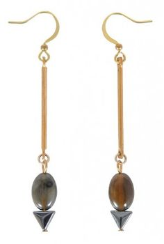 Cute Drop Earrings, Cute Stone Earrings, Cute Jewelry, Cute Dangle Earrings, Gold and Stone Drop Earrings, Grey Stone Earrings  www.lilyboutique.com