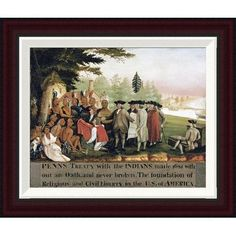 Global Gallery Penn's Treaty With The Indians by Edward Hicks Framed Graphic Art Size: