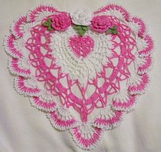 Valentines heart roses spring doily  size 10 by isabellestreasures, $29.99