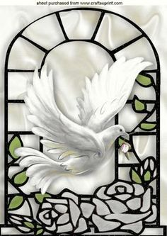 WHITE DOVE WITH SILVER ROSES IN A WINDOW FRAME A4 on Craftsuprint designed by Nick Bowley - WHITE DOVE WITH SILVER ROSES IN A WINDOW FRAME A4, Makes a beautiful card, just add some sparkle, there are lots of other colours and designs to see - Now available for download!