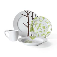 Season 16 Piece Dinnerware Set, Service for 4 Modern Dinnerware, Square Dinnerware Set, Dinnerware Sets, Leaf Bowls, How To Make Drinks, Dinner Sets, All Modern, Contemporary Furniture, Home Accessories