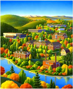 Painting - University Of Maine by Robin Moline , Fantasy Landscape, Landscape Art, Scenery Paintings, Country Art, Naive Art, Mountain Landscape, Watercolor Landscape, Beautiful Paintings, Folk Art