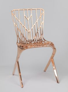 David Adjaye, British, b.Tanzanian, b. 1966; Knoll, Inc., manufacturer, American. Washington Skeleton Chair, 2013. Aluminum with copper plating. Gift of Joan H. and David E. Bright in honor of their daughter Katherine H. Bright, Brown University Class of 2016 2014.32