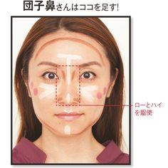 鼻まわりの光と影を操作して とにかく鼻筋、小鼻まわりにローライトとハイライトを駆使する。鼻筋を立たせるために鼻根の両脇には縦、小鼻には横にローを入れる。鼻先にハイを入れて高く見せるが、鼻筋のハイとはつなげないのが自然に見せるコツ。