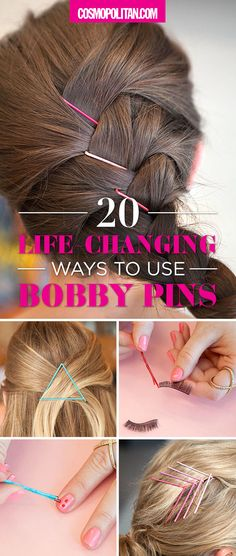 You've never seen bobby pins used like this before! Create gorgeous hairstyles, give your hair more volume, or learn to use bobby pins to create the perfect nail art with these hacks! Click through for more ideas and bobby pin ideas!
