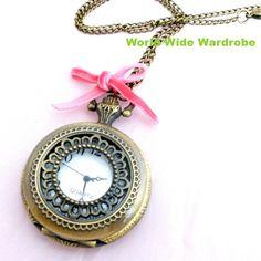 ベロアリボン付レースアンティーク調ペンダント懐中時計ウオッチ Watch pocket watch ¥2100yen 〆04月13日