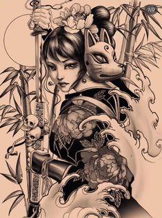 Tattoo Sketches, Tattoo Drawings, Body Art Tattoos, Girl Tattoos, Sleeve Tattoos, Japanese Geisha Tattoo, Japanese Tattoo Designs, Tattoo Designs Men, Japanese Kimono