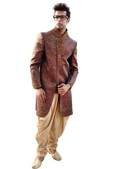Buy Maroon Brocade Readymade Dhoti Sherwani 204345 online at lowest price from our mens wear collection at Indianclothstore.com. Woolen Clothes, Indian Groom Wear, Wedding Sherwani, Mens Fashion Online, Full Skirt Dress, Designer Evening Dresses, Linen Blazer, Bride Look, How To Dye Fabric