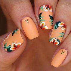 Amazing Acrylic Matte Short Nails Art Designs In Fall ; - Amazing Acrylic Matte Short Nails Art Designs In Fall ; Amazing Acrylic Matte Short Nails Art Designs In Fall ; Cute Acrylic Nails, Cute Nails, Pretty Nails, Cute Nail Art, Hair And Nails, My Nails, Nails Polish, Tropical Nail Designs, Tropical Flower Nails
