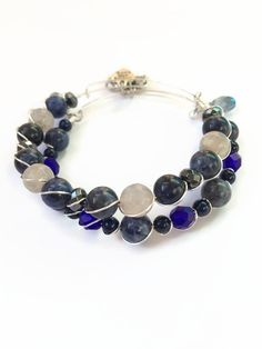 Blue Beaded Wire Bracelet Set Blue Bead Stacking Bracelets Blue Marbled Bracelets Stacking Wire Charm Bracelets Expandable Bracelets (SK10) by JulemiJewelry on Etsy