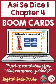 Do you need an interactive, fun way for Spanish students to study vocabulary while learning remotely? If so, these self-checking, self-grading Spanish Boom Cards are perfect! Students will be engaged & get a great review as they work their way through 73 cards featuring all of the words from Así Se Dice 1 Chapter 4, ¿Qué comemos y dónde? Can be played on a computer, tablet, phone, or other mobile device & can be integrated easily with Google Classroom. #distancelearning #spanish #boomcards