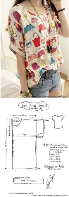 Sewing pattern top blouse. For more sewing patterns, sewing tutorials and sewing projects visit http://you-made-my-day.com
