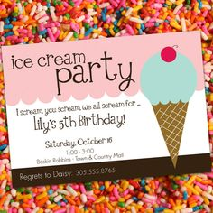 PERSONALIZED Ice Cream Birthday Party Invitation