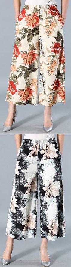 US$ 22.99 Vintage Printed Elastic Waist Wide Leg Pants For Women