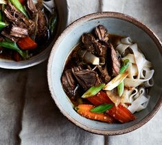 Thai Beef Stew with Lemongrass and Noodles- In this soul-satisfying dish, delicate rice noodles are combined with gingery spiced beef.