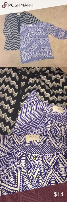 Lot of 2 Everly blouses from Nordstrom Lot of 2 Everly blouses from Nordstrom. One is black/white chevron with an opening detail at the neck. One is blue/white pattern with gold buttons at the neck. Both are size S. Loose, flowy, airy, feminine. Listed separately in my closet for $8/each. Purchase both in this bundle listing for $14. Everly Tops Blouses