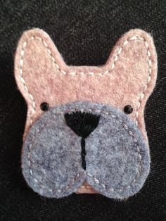 HANDCRAFTED GREY FELT BOXER BROOCH Well-made from top quality felt with hand stitched details.    Bar pin with safety catch on the back.   Measures