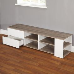 Features:  -Urban collection.  -Reclaimed wood look.  -Includes two drawers.  -Includes four open shelves and two small shelves on the sides of the unit.  -Sonoma oak/white finish.  -Can be assembled