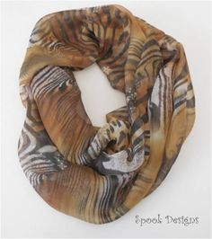 Tiger Print, Infinity, Scarves, My Etsy Shop, Chiffon, Trending Outfits, Unique Jewelry, Shopping, Vintage