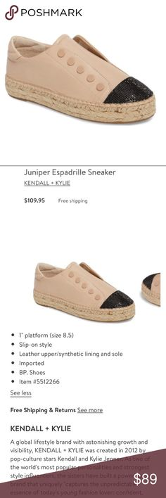 Kendall + Kylie espadrille sneakers These are the juniper espadrille sneakers with no laces.   Stretch bands on the inside connected to the tongue. Worn once!  In new like condition!  Please ask if u have any questions!  My opinion is that these would fit an 8 perfect.  They are an 8.5 tho. Kendall & Kylie Shoes Sneakers