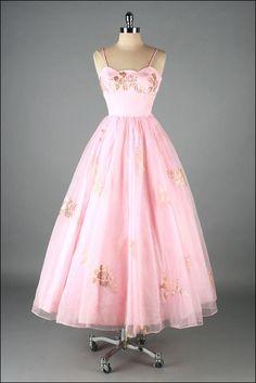 Vintage 1950s Dress . Pink Organza . Gold Foil Floral . 1611.  via Etsy.