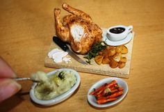 Dolls House Food - Miniature Food Roast Turkey/Large Chicken serving board with All the trimmings - 1/12th Scale available at... https://www.etsy.com/shop/TheMiniatureGourmet?ref=hdr_shop_menu