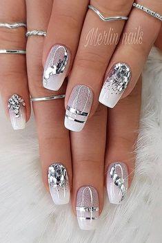 Elegant Nails, Classy Nails, Fancy Nails, Stylish Nails, Pink Nails, Cute Nails, Glitter Nails, Cute Acrylic Nail Designs, Pretty Nail Designs