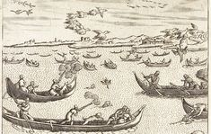History of the shotgun and shooting. Duck being shot 1609. Duck being shot pictured in the Habiti d'huomini, 1609