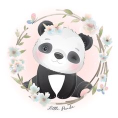 Niedlicher Panda, Panda Art, Cute Panda, Watercolor Flower Background, Watercolor Rose, Illustration Blume, Watercolor Illustration, Panda Lindo, Pink Flower Bouquet