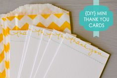 DIY Mini Thank You Cards - Yellow & Teal with Sewing Embellishment
