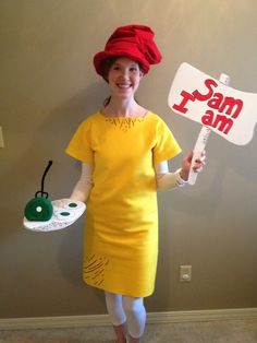 Homemade Sam I Am costume for the last day of Dr. Seuss week. Felt and fabric puff paint played a huge part in creating this look.