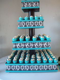 tiffany blue and black wedding cupcakes