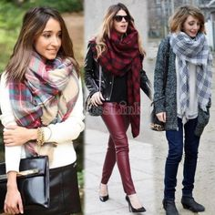 New Details About Lady Women Winter Infinity Blanket Oversized Shawl Plaid Check Tartan Scarf Wrap