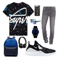 """""""Street Style"""" by oliviafida ❤ liked on Polyvore featuring Lacoste, NIKE, Superdry, True Religion, Movado, Oakley, Beats by Dr. Dre, County Of Milan, men's fashion and menswear"""