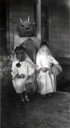 Vintage Halloween Photograph ~ Costumed Kids Ready for Trick or Treating w/ Jack O' Lanterns