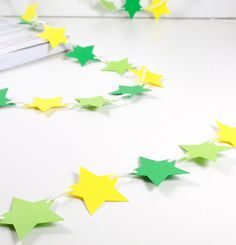 Green Yellow Stars Bunting Garland Banner for home, room, office, party, circus, birthday, baby girl, girls room, boys, boys room, children, newborn, baptism, 1st birthday, wedding, holidays.. by 21january on Etsy