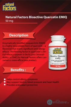 Bioactive Quercetin EMIQ helps control allergy symptoms and it provides antioxidant protection. Healthy Blood Pressure, Anti Allergy, Allergy Symptoms, Beauty Care, Factors, Natural Health, Allergies, Clinic
