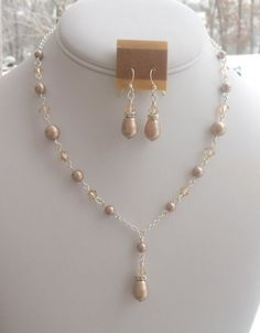 Champagne Bridesmaids Necklace Set in by DeniseJewelryDesigns, $35.00