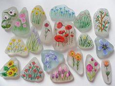 Flowers on sea glass: